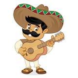Mexican man cartoon playing guitar Stock Images