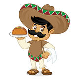 Mexican man cartoon serving taco Royalty Free Stock Photo