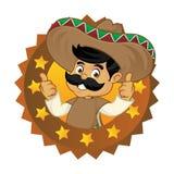 Mexican man cartoon top brand logo Royalty Free Stock Photo