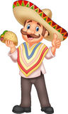 Mexican man holding taco. Illustration of Mexican man holding taco Stock Photo