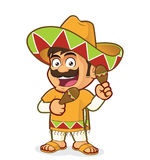 Mexican man with maracas. Clipart picture of a mexican man cartoon character with maracas stock illustration