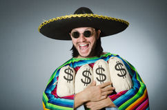 Mexican man with money sacks Stock Photos