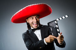 Mexican man with movie Royalty Free Stock Image
