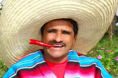 Mexican man poncho sombrero eating red hot chili. Mexican man with poncho and sombrero eating typical red chili hot pepper in Mexico royalty free stock photography