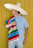 Mexican man serape poncho hat sombrero Royalty Free Stock Image