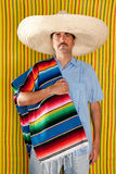 Mexican man serape poncho hat sombrero Royalty Free Stock Photo