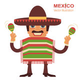 Mexican man singer with maracas Stock Photo