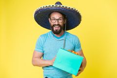Mexican man in sombrero hat. party time. Male fashion. brutal caucasian hipster with moustache. Mature hipster with. Beard. Facial care. Bearded man. present royalty free stock photo