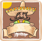 Mexican Man with Template Sign Banner Royalty Free Stock Photos