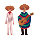 Mexican man in traditional national sombrero and poncho playing guitar Stock Images