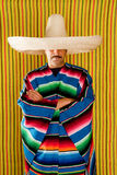 Mexican man typical poncho sombrero serape Royalty Free Stock Photo