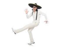Mexican man wearing sombrero isolated on white Stock Photos