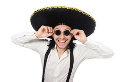 Mexican man wearing sombrero isolated on white. The mexican man wearing sombrero isolated on white Stock Photo
