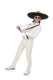 Mexican man wearing sombrero isolated on white Stock Images