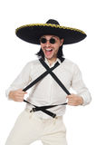 Mexican man wearing sombrero isolated on white Stock Photo