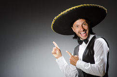 Mexican man wears sombrero  on white Stock Images