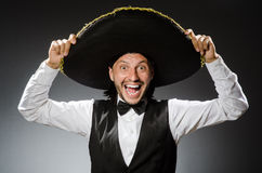Mexican man wears sombrero  on white Royalty Free Stock Photo