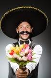 Mexican man wears sombrero  on white Stock Photo
