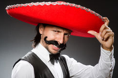 Mexican man wears sombrero  on white Royalty Free Stock Photography