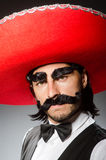 Mexican man wears sombrero  on white Royalty Free Stock Images