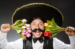 Mexican man wears sombrero  on white Stock Image