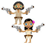 Mexican man and woman with guns, vector characters. Mexican man and woman with modern weapons, two vector characters Stock Photo