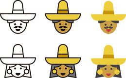 MEXICAN man and woman icons royalty free illustration
