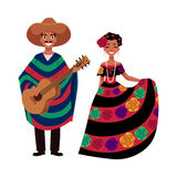 Mexican man and woman in traditional national clothes, festival, celebration Royalty Free Stock Images