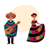 Mexican man and woman in traditional national clothes, festival, celebration Stock Photo