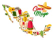 Mexican map with Cinco de Mayo holiday symbols. Sombrero hat, flag of Mexico and maracas, chili pepper or jalapeno, cactus and tequila margarita, guitar, taco Royalty Free Stock Photos
