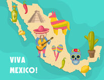 Mexican Map Poster Royalty Free Stock Photo
