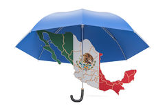 Mexican map under umbrella. Security and protect or insurance co Royalty Free Stock Images