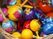 Mexican Maracas. A basket full with colorful hand painted Maracas (rattlers) from Mexico Royalty Free Stock Image