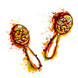 Mexican Maracas. Fiesta party. Hand drawn grunge style art. Vector illustration Royalty Free Stock Photo