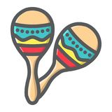 Mexican maracas filled outline icon, music Royalty Free Stock Photography