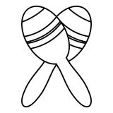Mexican maracas icon , outline style Royalty Free Stock Photography