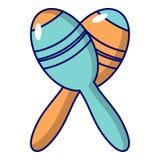 Mexican maracas instrument icon, cartoon style. Mexican maracas instrument icon. Cartoon illustration of mexican maracas instrument vector icon for web design stock illustration