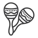 Mexican maracas line icon, music and instrument Stock Photo
