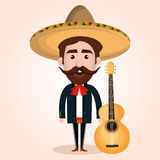 Mexican mariachi character classic Stock Images