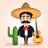 Mexican mariachi character classic Stock Image