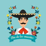 Mexican mariachi with hat and flowers to event. Vector illustration vector illustration