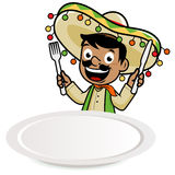 Mexican mariachi man looking over a blank plate Royalty Free Stock Photo