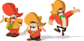 Mexican mariachis with sombrero. Three cartoon mexican mariachis with sombrero stock illustration