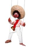 Mexican marionette. Funny Mexican marionette puppet doll cut-out attached to strings Stock Photo