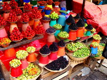 Colorful fruit and vegetable market in Mexico. Stock Photos