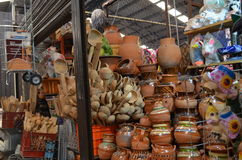 Mexican market, Cholula, Puebla, Poat made of clay on sale Royalty Free Stock Image