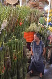 Mexican market, Cholula, woman with flowers to sale Royalty Free Stock Photography