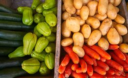 Mexican vegetables carrot potato Chayote. Mexican market vegetables carrot potatoes cucumbers and Chayote squash Stock Photos
