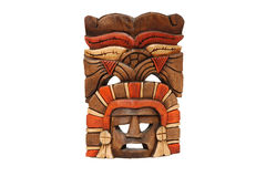 Mexican mask carved in wood isolated on white Royalty Free Stock Image