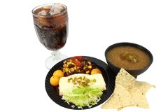 Mexican Meal On Small Black Plate Stock Photos